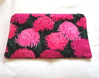 Pink Flower Fabric  Zipper Pouch / Pencil Case / Make Up Bag / Gadget Pouch