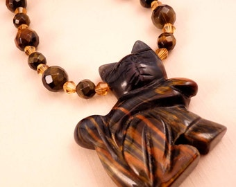 Gemstone Necklace Blue Tiger Eye Necklace Beaded Necklace Gemstone Jewelry Beaded Jewelry Cat Necklace Cat Jewelry  Blue Jewelry
