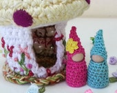 Toadstool Cottage and Gnome Couple, Mushroom Cottage, Embroidered Flowers
