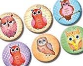 Watercolour Owls 1 inch bottle caps circles images. Printable watercolor instant download digital collage sheet for owl pendants, bottlecaps