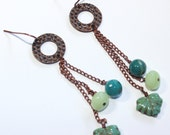 Hammered Copper Circles with Green Glass leaves and Rondells, and Jasper Faceted Rounds - Spring, green, grass, copper, outdoors, teal