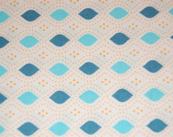 Moda Domestic Bliss by Liz Scott, Teal and Blue on White, Quilting fabric, Sewing, Vintage-look, Modern, Craft