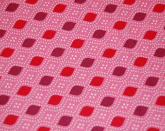 Domestic Bliss by Liz Scott, Red and Eggplant on Pink,  for Moda Fabrics. Quilting fabric, Sewing, Vintage-look, Modern, Craft