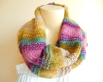 Multicolor Hand Knitted Neckwarmer-Earth,Green,Pink,Teal Color