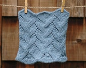 Hand knit cowl - wool and alpaca scarf in stone washed blue