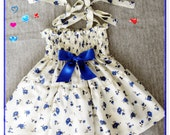 Natural soft dress - Ivory and blue flowered dress (Available in size 6 months to 4 years) Blue flowered summer dress - Soft baby dress