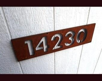 Custom Modern Floating House Numbers in Rusted Steel
