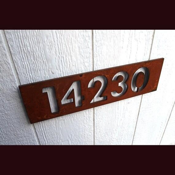 Custom modern floating house numbers in rusted by modaindustria