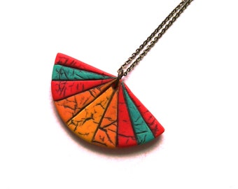 Modern oriental fan necklace geometric polymer clay faux leather pendant necklace turqoise blue teal sunny yellow orange and red