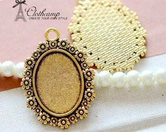 8pcs 18x25mm Antique Gold Cabochon Setting Cameo Base frame Base for making necklaces/ pendants(SETHY-218)