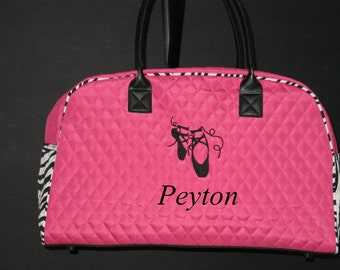"""Personalized 19"""" Duffle/Weekender Bag-Fuchsia with Zebra Accents Dance Bag"""