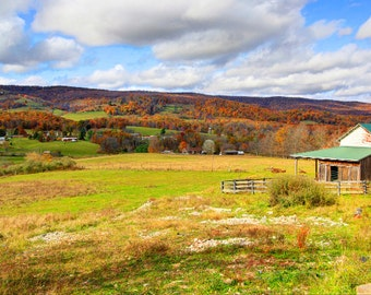Pastoral scene in the Fall, Shenandoah Valley, Virginia - 16X24 inch print