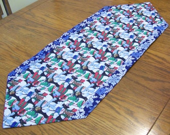 Snowman Table Runner with Blue Snowflake Back - Winter Table Decoration, Kitchen Table Decor
