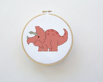 Cute Dinosaur Cross Stitch Pattern in Orange - Digital File - Hoop Art, Counted Cross Stitch Pattern, Orange Dinosaur, Triceratops