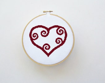Heart Cross Stitch Pattern - Digital File/ Instant Download - Hoop Art, X Stitch Pattern, Valentine Cross Stitch