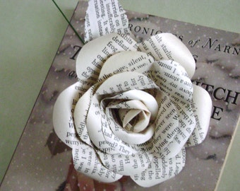 Recycled book page paper rose flower from Chronicles of Narnia by CS Lewis for farnhouse wedding bouquet decorations shabby chic