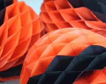 Vintage Halloween Honeycomb Tissue Paper Black And Orange Balls