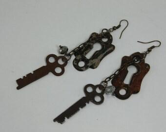 Vintage Key, Keyhole and Crystal Handcrafted Repurposed Assemblage Earrings OOAK