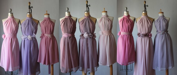 mismatched bridesmaid dresses shades of plump and pink