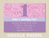 """First Birthday Party - Printable Birthday Party Invitation - 1st Birthday Girl - Birthday Girl Invitation """"The Big One Design"""""""
