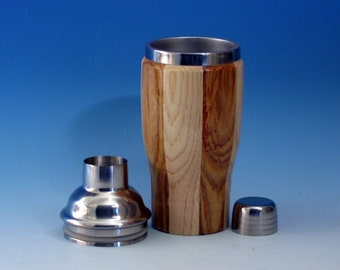 Hickory and Canary  Wooden Cocktail or Juice Shaker with Stainless Steel Insert, Cocktail Shaker Lid with Strainer, and Cap