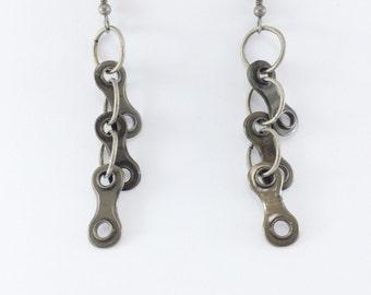 bicycle jewelry earrings, bike chain earrings, dangle bicycle earrings, eco jewelry, bike part earrings, bike gifts,