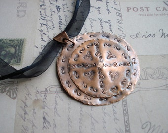 Round Copper Stamped Necklace Free Shipping