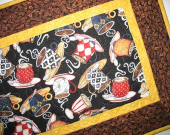 Coffee Table Runner or Wall Art, quilted,  fabric from Wilmington Prints and Hoffman