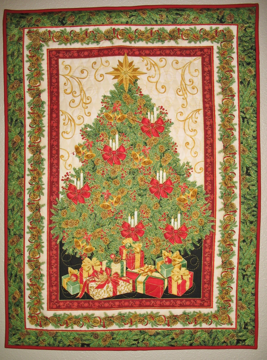 Christmas Wall Hanging Christmas Tree Quilted By