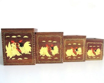 Vintage Wooden Canister Set, Set of Four Rooster Canister Set, 1950s Country Canister Set, Four Wooden Canisters