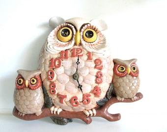 Syroco Vintage Owl Clock Mod kitsch mid century