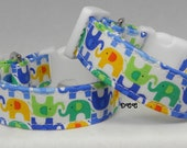 Dog Collar Elephant Parade Colorful Green Blue Yellor Orange Adjustable Dog Collar D Ring Choose Size Pet Pets Collars Indian Accessories