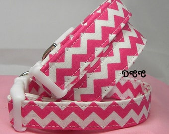 READY to SHIP Dog Collar Bold Hot Pink and White Chevron Zig Zag Stripes Everyday Fun No Bow Adjustable Dog Collars w D Ring Stripe Pet Pets