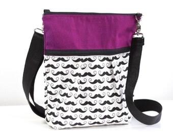 Mustache Messanger Crossbody Bag, Mustache Travel Purse, Mustache Sling Bag, Mustache Shoulder Purse, Cross Body Sling Bag,Travel Handbag