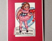 "Vintage 1940's Valentine Card-Ballerina ""On Your Toes You're My Valentine"""