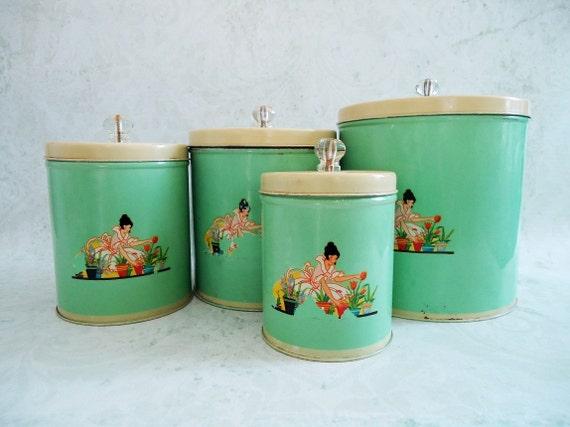 vintage jadeite jadite green tin kitchen by swirlingorange11