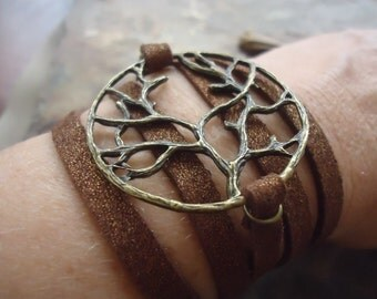BRONZE TREE & suede wrap bracelet (699)