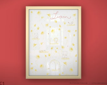 "Custom baby name art print kids room decor cute safari theme soft pastel colors -  Unframed 11 3/4  x 15 3/4"" - You Are My Sunshine"