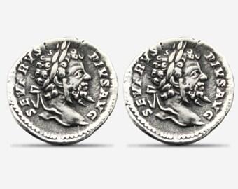 Sterling Silver Septimius Severus Coin Replica Cufflinks