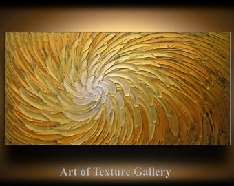 Abstract Painting 52 x 26 Original Abstract Heavy Texture Carved Sculpture Floral Gold Orange Modern Metallics Oil Painting by Je Hlobik