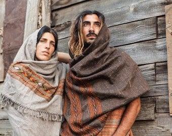 Handloom Wool Shawl / Fabric With Tribal Pattern~