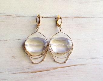 Gold Filled Crystal Quartz Drop Earring Quartz Jewelry