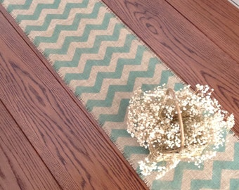 Chevron Burlap Table Runner, Hand Painted Burlap 12-14x84,96 or 108 Burlap Runner by sweetjanesplan