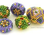 Beaded Beads set of 5 - by Sharri Moroshok - purple green gold