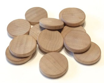 25 Wood Disks - 3/4 inch Wooden Disk Coin