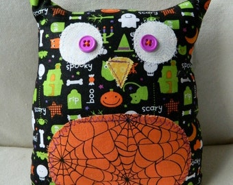 Halloween - Stuffed Owl - Black Halloween fabric with Orange Spiderweb Belly
