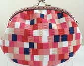 Free Shipping - Handmade Coin Purse Pink Red Mosaic