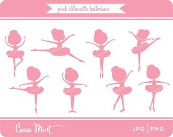 Pink Silhouette Ballerina Clip Art