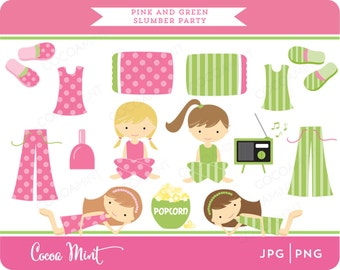 Pink and Green Slumber Party Clipart
