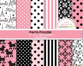 Paris Poodle Digital Papers
